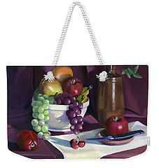 Weekender Tote Bag featuring the painting Still Life With Apples by Nancy Griswold