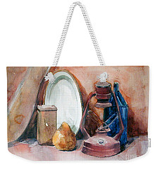 Watercolor Still Life With Rustic, Old Miners Lamp Weekender Tote Bag