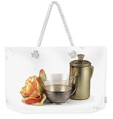 Weekender Tote Bag featuring the photograph Still Life With Old Cup Rose And Coffe Pot by Raffaella Lunelli