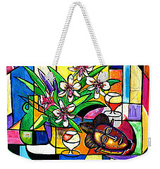 Still Life With Orchids And African Mask Weekender Tote Bag
