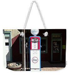 Weekender Tote Bag featuring the photograph Old Stillwater Garage And General Store  New Jersey And Esso Gas Pump by Carol Wisniewski