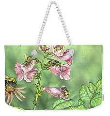 Stinging Insects In Garden Scene Weekender Tote Bag by Laurie O'Keefe