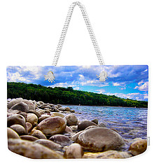 Weekender Tote Bag featuring the photograph Stone Beach by Zafer Gurel
