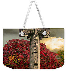 Weekender Tote Bag featuring the photograph Stone Cross In Fall Garden by Lesa Fine