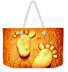 Weekender Tote Bag featuring the photograph Stoney In The Rain by Clare Bevan