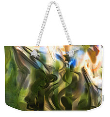 Weekender Tote Bag featuring the digital art Stork In The Music Garden by Richard Thomas
