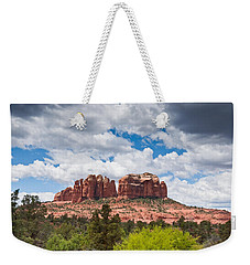 Weekender Tote Bag featuring the photograph Storm Clouds Over Cathedral Rocks by Jeff Goulden