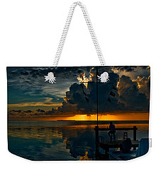 Sunset Tropical Storm And Watcher In Florida Keys Weekender Tote Bag