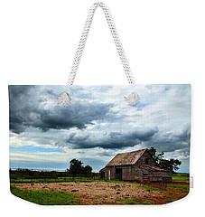 Storms Loom Over Barn On The Prairie Weekender Tote Bag