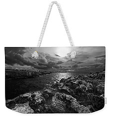 Blank And White Stormy Mediterranean Sunrise In Contrast With Black Rocks And Cliffs In Menorca  Weekender Tote Bag by Pedro Cardona
