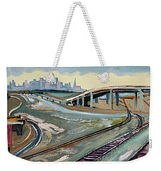 Stormy Train Tracks And San Francisco  Weekender Tote Bag