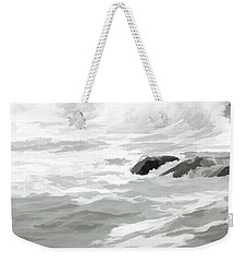 Stormy Waves Pound The Shoreline Weekender Tote Bag by Jeff Folger