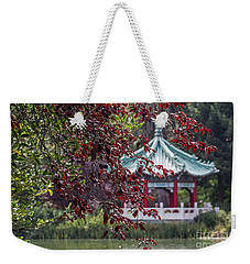 Weekender Tote Bag featuring the photograph Stow Lake Pavilion by Kate Brown