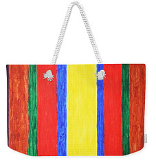 Weekender Tote Bag featuring the painting Vertical Lines by Stormm Bradshaw