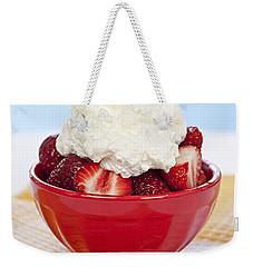 Strawberries And Cream Weekender Tote Bag by Elena Elisseeva