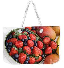 Strawberries Blueberries Mangoes And A Banana - Fruit Tray Weekender Tote Bag
