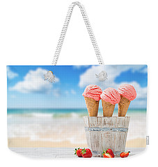 Strawberry Ice Creams Weekender Tote Bag by Amanda Elwell