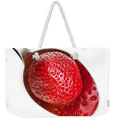 Strawberry Puddle Weekender Tote Bag by Dee Cresswell