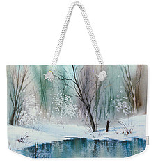 Stream Cove In Winter Weekender Tote Bag