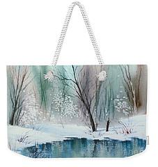 Stream Cove In Winter Weekender Tote Bag by Teresa Ascone