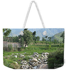 Weekender Tote Bag featuring the photograph Stream Trees House And Mountains Swat Valley Pakistan by Imran Ahmed