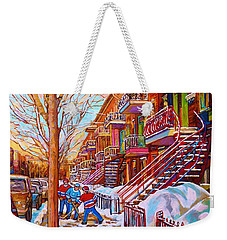 Street Hockey Game In Montreal Winter Scene With Winding Staircases Painting By Carole Spandau Weekender Tote Bag