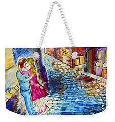 Street Kiss By Night  Weekender Tote Bag by Ramona Matei