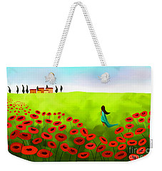 Strolling Among The Red Poppies Weekender Tote Bag by Anita Lewis