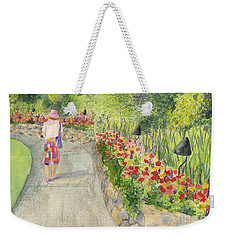 Weekender Tote Bag featuring the painting Strolling Butchart Gardens by Vicki  Housel
