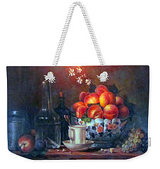 Weekender Tote Bag featuring the painting Study Of Peaches by Donna Tucker