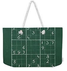 Sudoku On A Chalkboard Weekender Tote Bag by Chevy Fleet