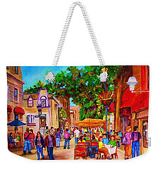 Weekender Tote Bag featuring the painting Summer Cafes by Carole Spandau