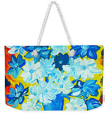 Weekender Tote Bag featuring the painting Summer Daisies by Ramona Matei