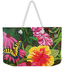 Weekender Tote Bag featuring the painting Summer Garden by Ellen Levinson