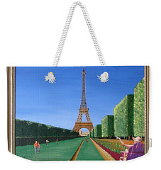 Weekender Tote Bag featuring the painting Summer In Paris by Ron Davidson