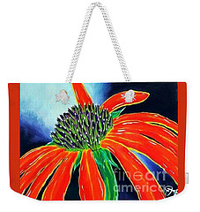 Weekender Tote Bag featuring the painting Summer Kissed Cone Flower by Jackie Carpenter