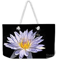 Summer Magic -- Dragonfly On Waterlily On Black Weekender Tote Bag