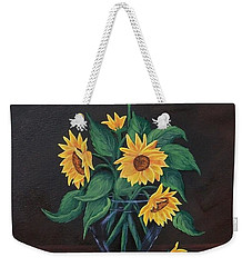 Weekender Tote Bag featuring the painting Sun Flowers  by Sharon Duguay