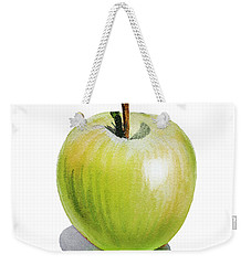 Weekender Tote Bag featuring the painting Sun Kissed Green Apple by Irina Sztukowski