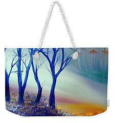 Weekender Tote Bag featuring the painting Sun Ray In Blue  by Lilia D