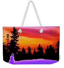 Sun Setting On Snow Weekender Tote Bag