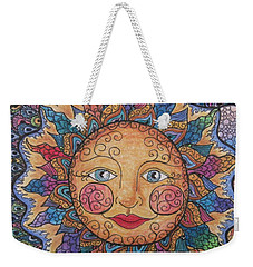 Weekender Tote Bag featuring the drawing Sun Tangle 2 by Megan Walsh