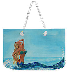 Sunbathing Mermaid Weekender Tote Bag by Leslie Allen