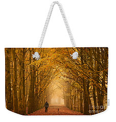 Sunday Morning Walk With The Dog In A Foggy Forest In Autumn Weekender Tote Bag