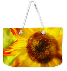 Weekender Tote Bag featuring the digital art Sunflower-a-blaze by Janie Johnson