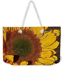 Sunflower Burlap And Turquoise Weekender Tote Bag by Phyllis Denton