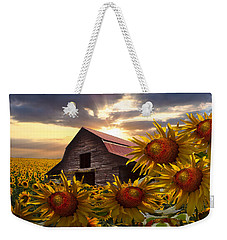 Sunflower Dance Weekender Tote Bag by Debra and Dave Vanderlaan