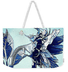 Sunflower - Denim Blues And White Weekender Tote Bag by Janine Riley