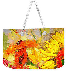 Weekender Tote Bag featuring the painting Sunflower Detail by Ana Maria Edulescu