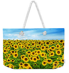 Weekender Tote Bag featuring the photograph Sunflower Field by Mike Ste Marie
